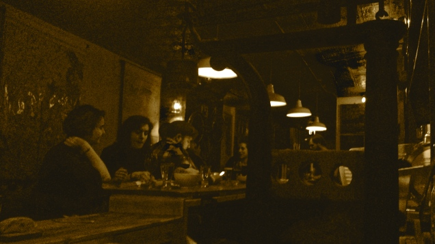 This picture presented in sepia-toned hipstervision, because my phone hates dark indoor spaces